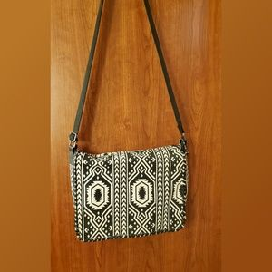 Mossimo Aztec Black and Ivory Print Crossbody Bag